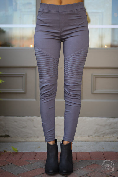 Need For Speed Moto Pants - trendy grey ribbed moto pants, front, Closet Candy Boutique