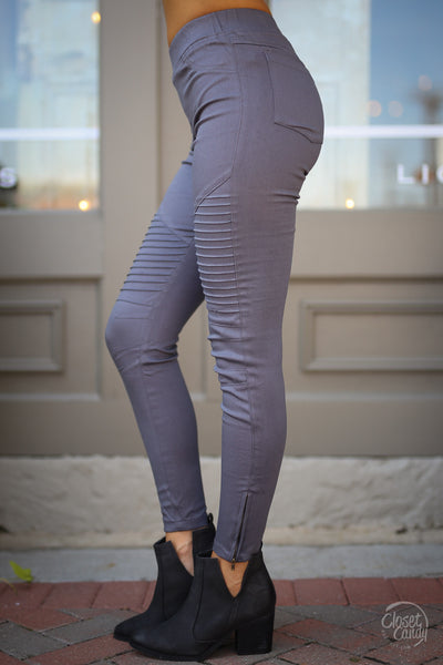Need For Speed Moto Pants - trendy grey ribbed moto pants, side, Closet Candy Boutique