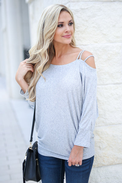 Don't Tempt Me Top - Heather Grey