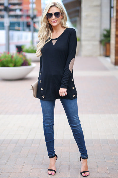 Closer To You Tunic - Black elbow patch tunic top, side buttons, fall outfit, Closet Candy Boutique 3