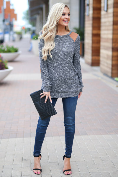 Nights In The City Top - Charcoal stylish two tone long sleeve sweater, trendy elbow patch details, closet candy boutique 2