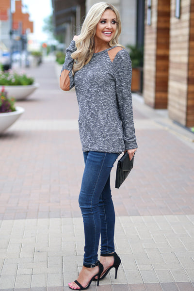 Nights In The City Top - Charcoal stylish two tone long sleeve sweater, trendy elbow patch details, closet candy boutique 3