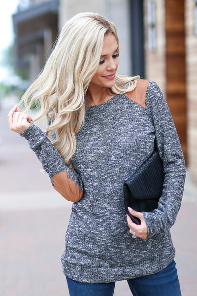 Nights In The City Top - Charcoal stylish two tone long sleeve sweater, trendy elbow patch details, closet candy boutique 1