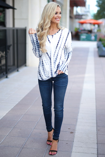 Live Without Limits Tie Dye Top - Ivory/Navy long sleeve drape front top, closet candy boutique 1
