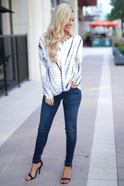 Live Without Limits Tie Dye Top - Ivory/Navy long sleeve drape front top, closet candy boutique 3