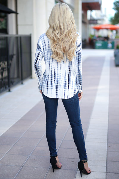 Live Without Limits Tie Dye Top - Ivory/Navy long sleeve drape front top, closet candy boutique 5