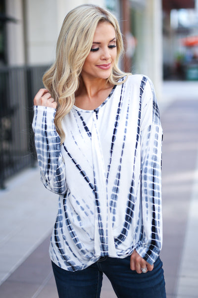 Live Without Limits Tie Dye Top - Ivory/Navy long sleeve drape front top, closet candy boutique 2