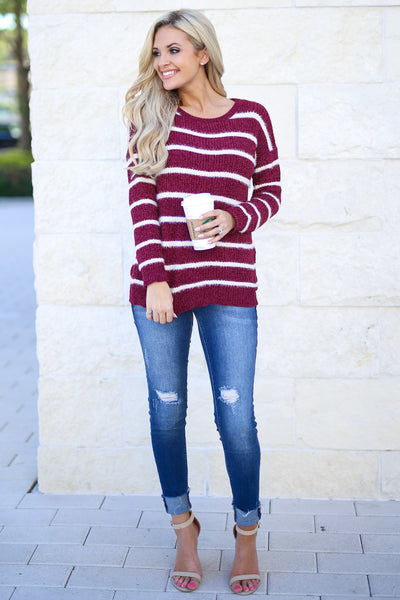 Came To Cuddle Fuzzy Sweater - Burgundy, white stripes, women's long sleeve top, soft, fuzzy, fall cozy, closet candy boutique 4