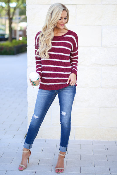 Came To Cuddle Fuzzy Sweater - Burgundy, white stripes, women's long sleeve top, soft, fuzzy, fall cozy, closet candy boutique 1