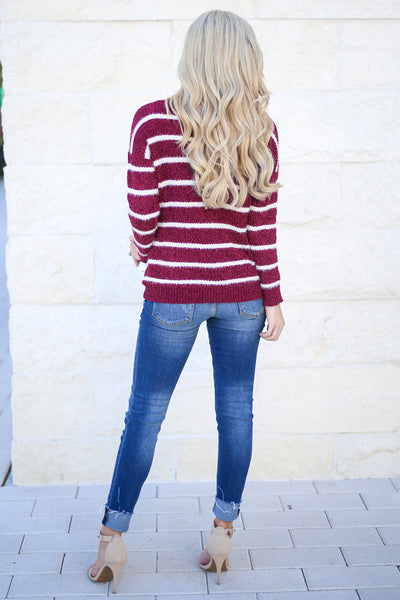 Came To Cuddle Fuzzy Sweater - Burgundy, white stripes, women's long sleeve top, soft, fuzzy, fall cozy, closet candy boutique 3