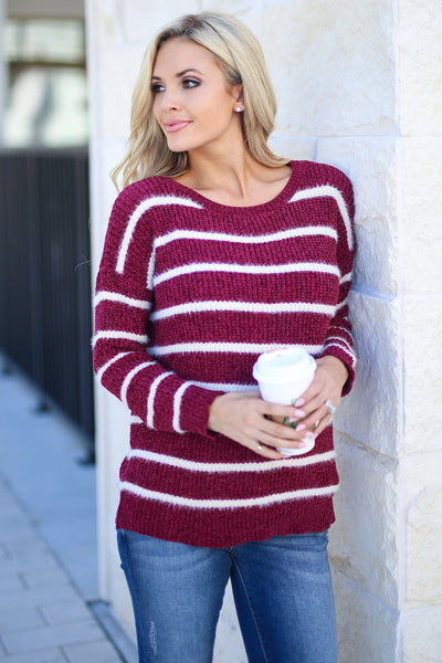 Came To Cuddle Fuzzy Sweater - Burgundy, white stripes, women's long sleeve top, soft, fuzzy, fall cozy, closet candy boutique 2
