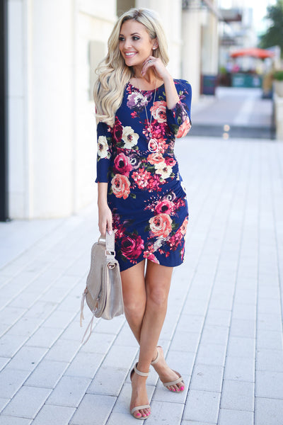 Meet Your Gaze Floral Dress - Navy 3/4 sleeve mini dress, floral with petal hem, closet candy boutique 3