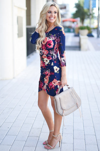Meet Your Gaze Floral Dress - Navy 3/4 sleeve mini dress, floral with petal hem, closet candy boutique 2