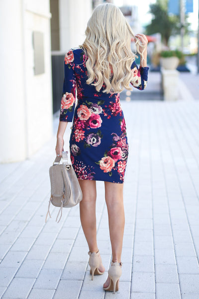 Meet Your Gaze Floral Dress - Navy 3/4 sleeve mini dress, floral with petal hem, closet candy boutique 4