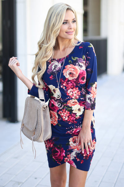 Meet Your Gaze Floral Dress - Navy 3/4 sleeve mini dress, floral with petal hem, closet candy boutique 1