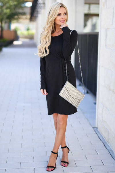 Making Me Famous Dress - Black women's long sleeve dress with side knot at waist, closet candy boutique 1