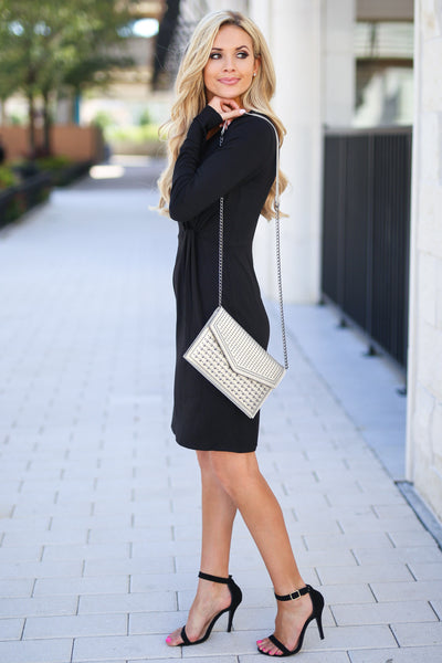 Making Me Famous Dress - Black women's long sleeve dress with side knot at waist, closet candy boutique 2