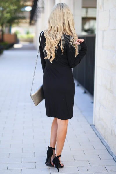Making Me Famous Dress - Black women's long sleeve dress with side knot at waist, closet candy boutique 3