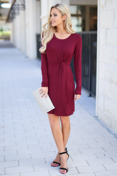 Making Me Famous Dress - Wine women's long sleeve dress with side knot at waist, closet candy boutique 4
