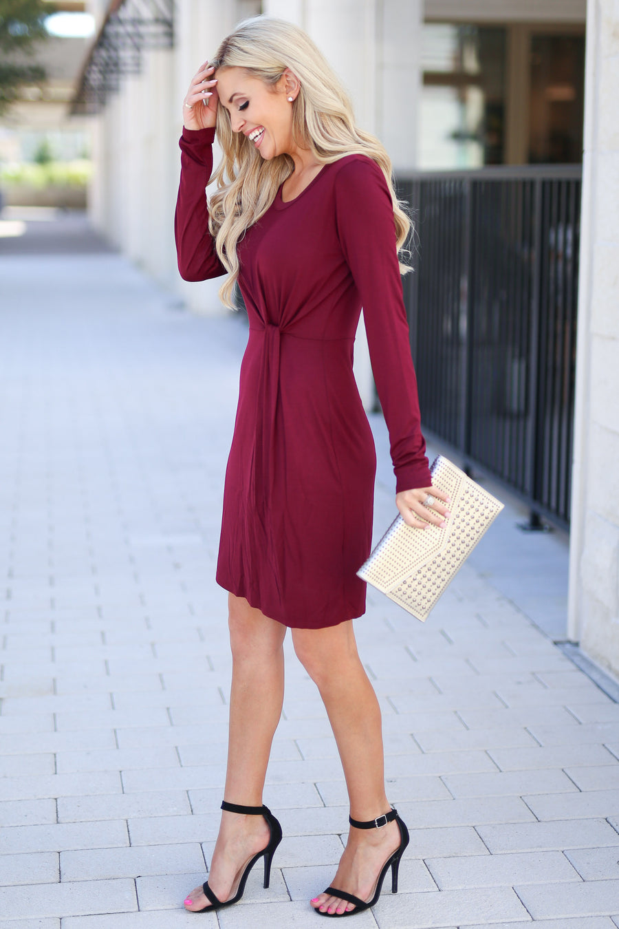Making Me Famous Dress - Wine women's long sleeve dress with side knot at waist, closet candy boutique 1