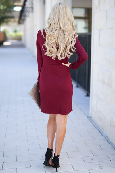 Making Me Famous Dress - Wine women's long sleeve dress with side knot at waist, closet candy boutique 3