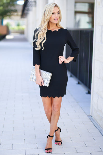 First Date Scalloped Dress - Black 3/4 sleeve petal hem scalloped dress, closet candy boutique 4