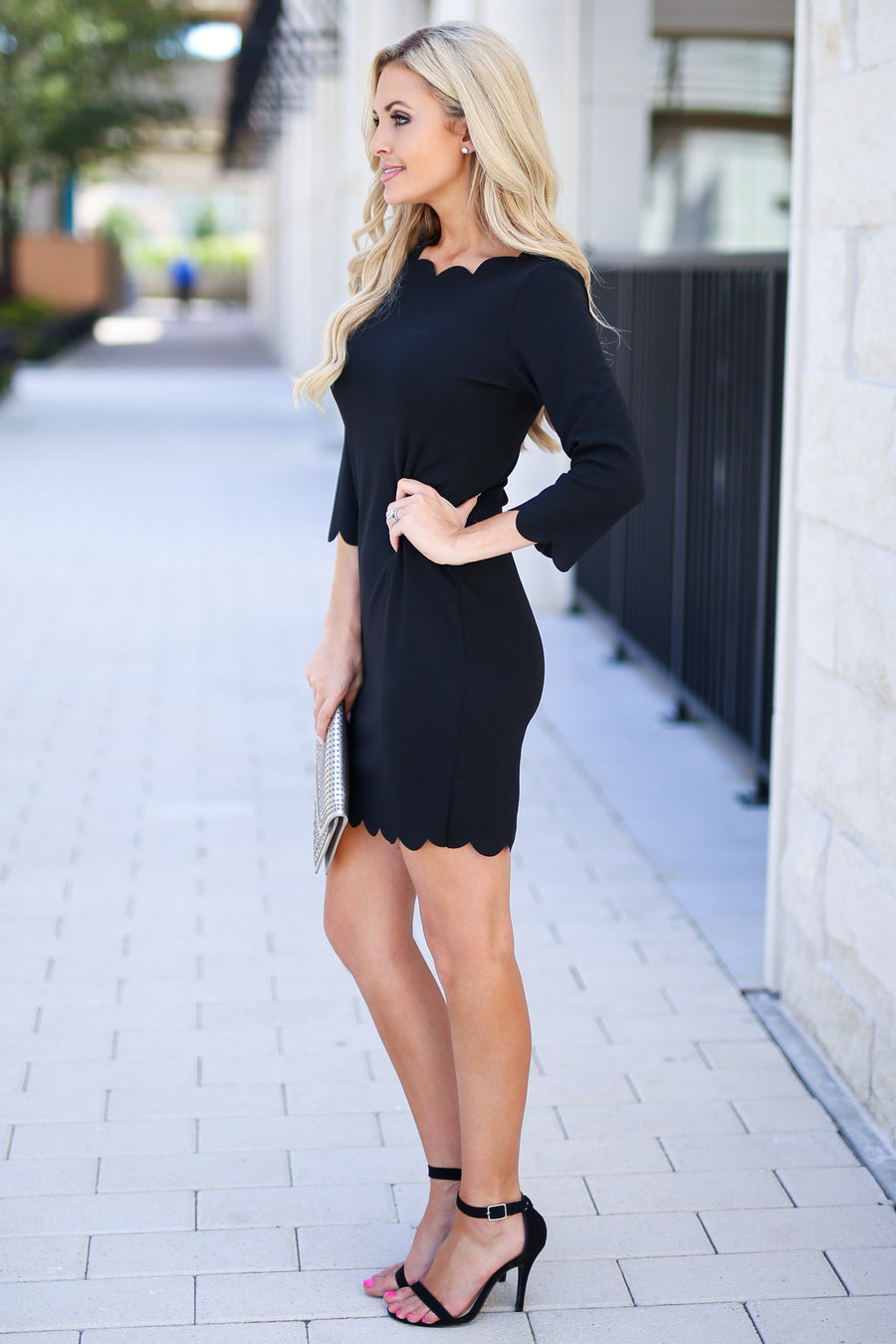 First Date Scalloped Dress - Black 3/4 sleeve petal hem scalloped dress, closet candy boutique 1