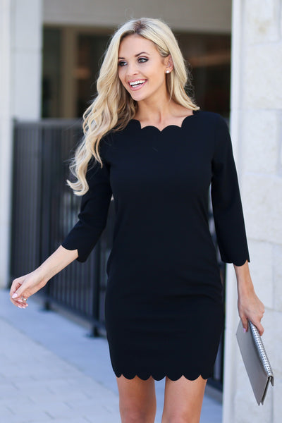 First Date Scalloped Dress - Black 3/4 sleeve petal hem scalloped dress, closet candy boutique 3