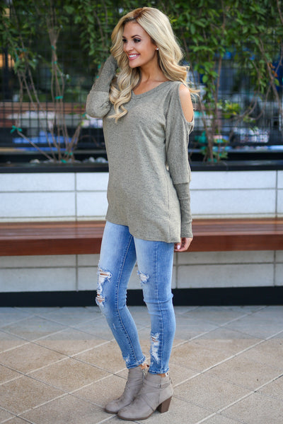 In My Feelings Top - Olive women's long sleeve cold shoulder top, closet candy boutique 2