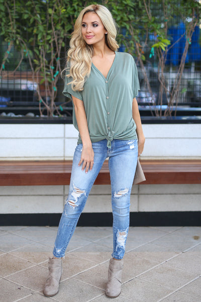 Got That Feeling Top - Olive women's boss babe button up, hi-low, front tie dolman sleeve trendy shirt, closet candy boutique 2