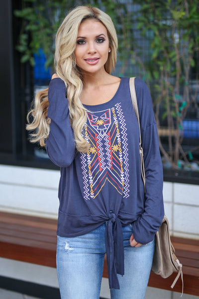 A Brand New Love Top - Navy Charcoal long sleeve embroidered top, front tie detail, fall outfit, closet candy boutique 1