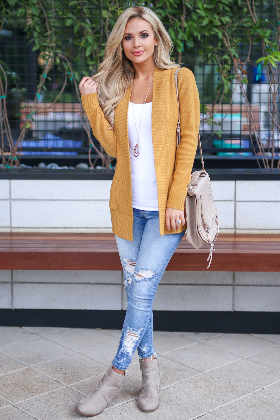 At Your Leisure Cardigan - Mustard knit open front cardigan sweater, cute fall style, Closet Candy Boutique 1