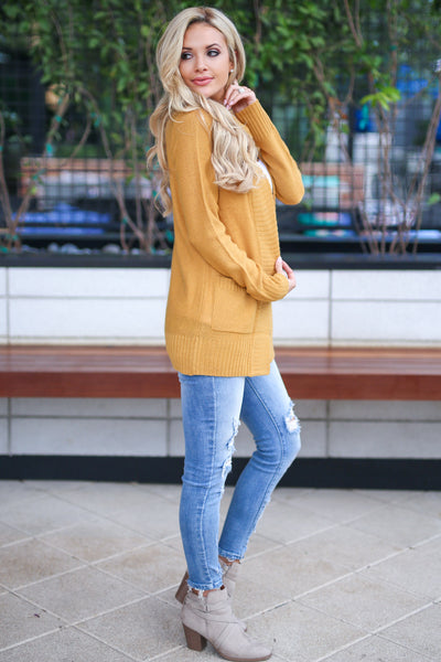 At Your Leisure Cardigan - Mustard knit open front cardigan sweater, cute fall style, Closet Candy Boutique 3
