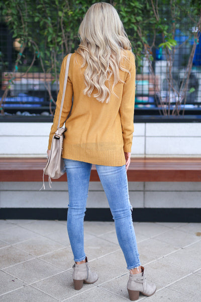 At Your Leisure Cardigan - Mustard knit open front cardigan sweater, cute fall style, Closet Candy Boutique 4