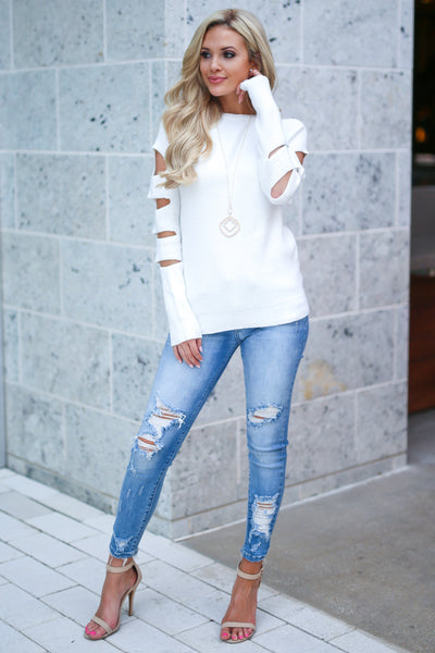 Cutting Edge Knit Sweater - Ivory women's top, long sleeves, trendy cutout details, closet candy boutique 1