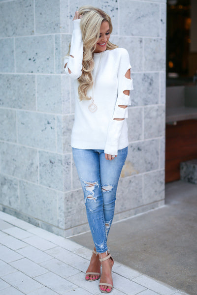 Cutting Edge Knit Sweater - Ivory women's top, long sleeves, trendy cutout details, closet candy boutique 2