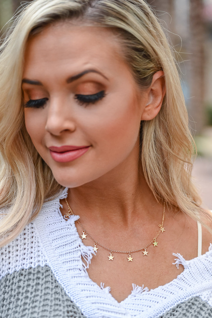 In The Sky Star Choker Necklace - Gold womens trendy gold tone star charms choker closet candy close