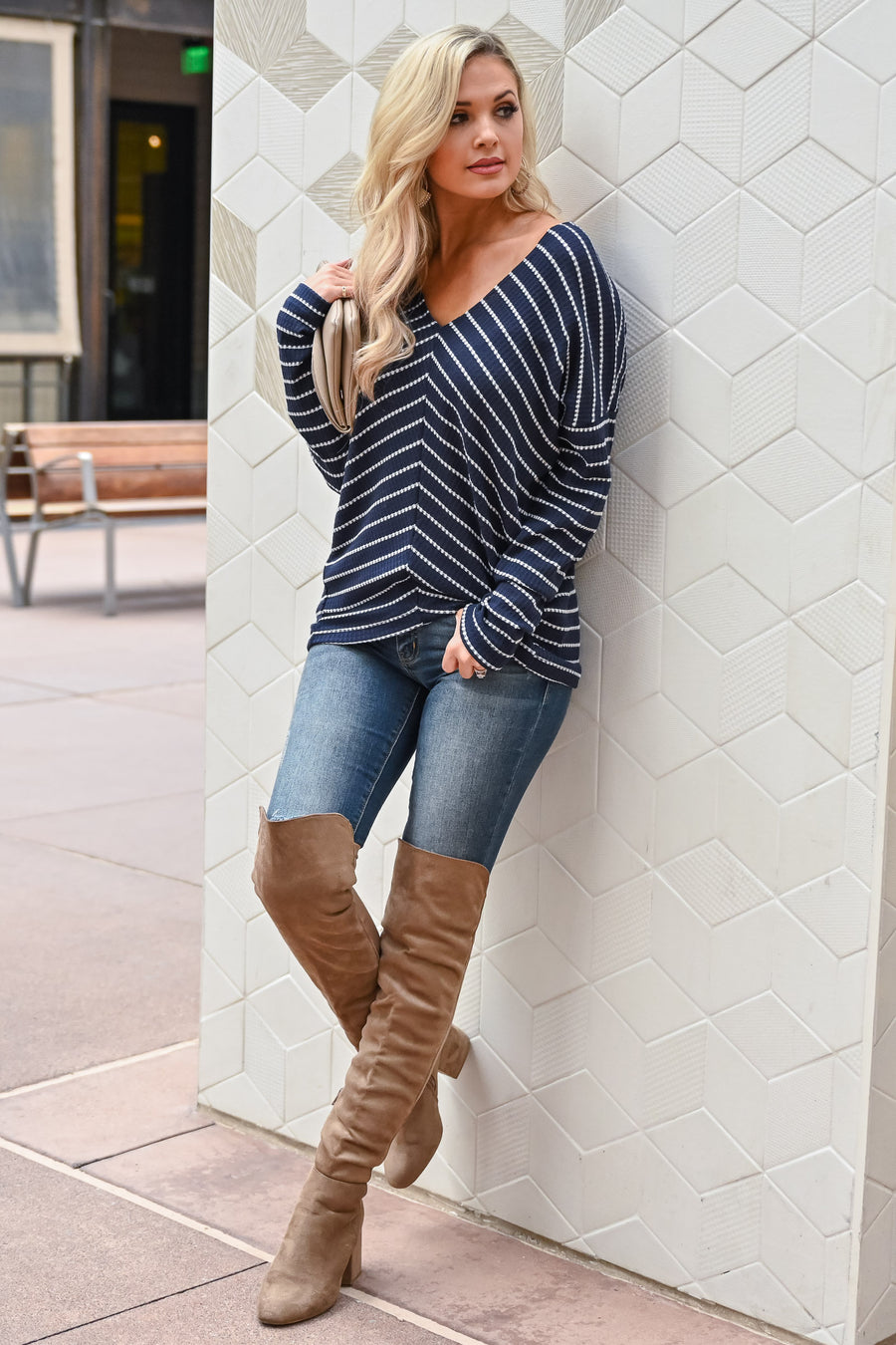 Here We Are Striped Top - Navy womens trendy v-neck striped long sleeve striped not fitted top closet candy front