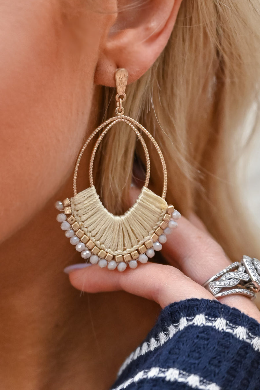 Just Another Day Dangle Earrings - Ivory womens trendy beaded dangle earrings closet candy side