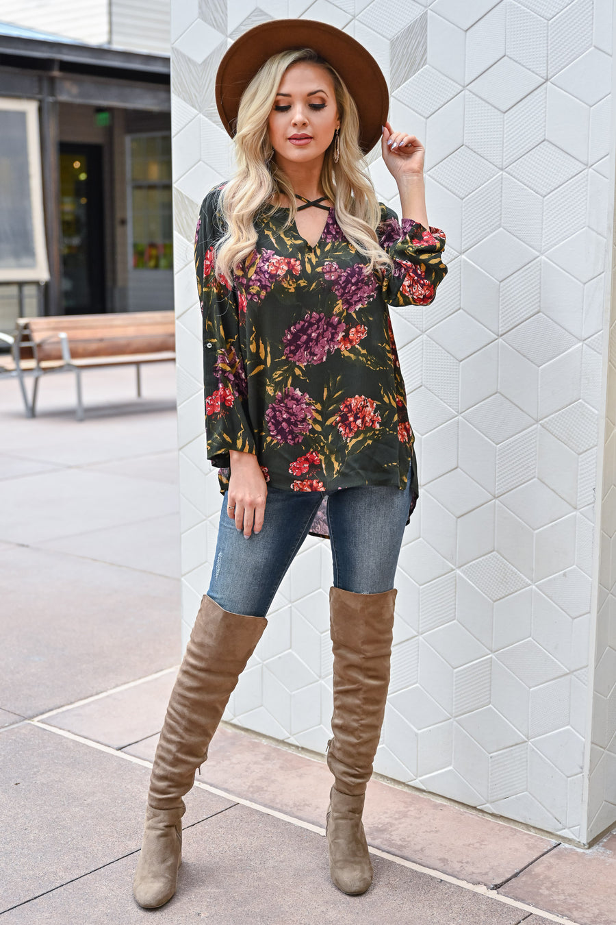 Knocking at the Door Floral Top - Hunter Green womens trendy long sleeve cross front floral top closet candy sitting 2