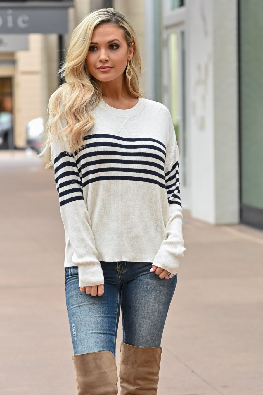 THREAD & SUPPLY Check Your Schedule Top - Ivory & Navy womens trendy striped thermal top closet candy front 2