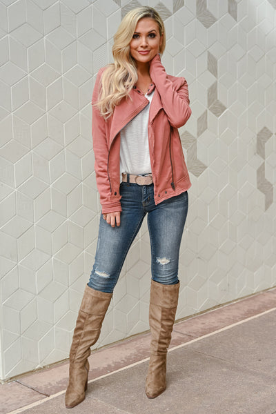 Win You Over Zip Jacket - Rust womens trendy asymmetrical zipper long sleeve jacket closet candy front 2