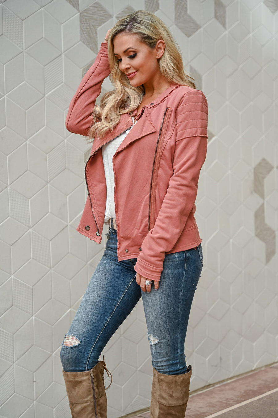 Win You Over Zip Jacket - Rust womens trendy asymmetrical zipper long sleeve jacket closet candy front