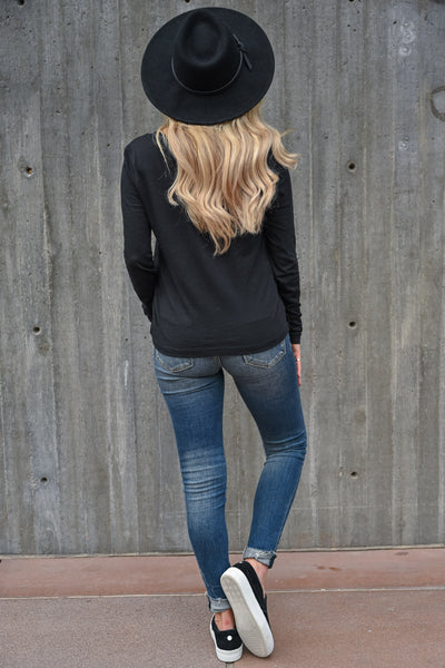 Go Anywhere Long Sleeve Top - Black womens casual long sleeve v-neck shirt closet candy back