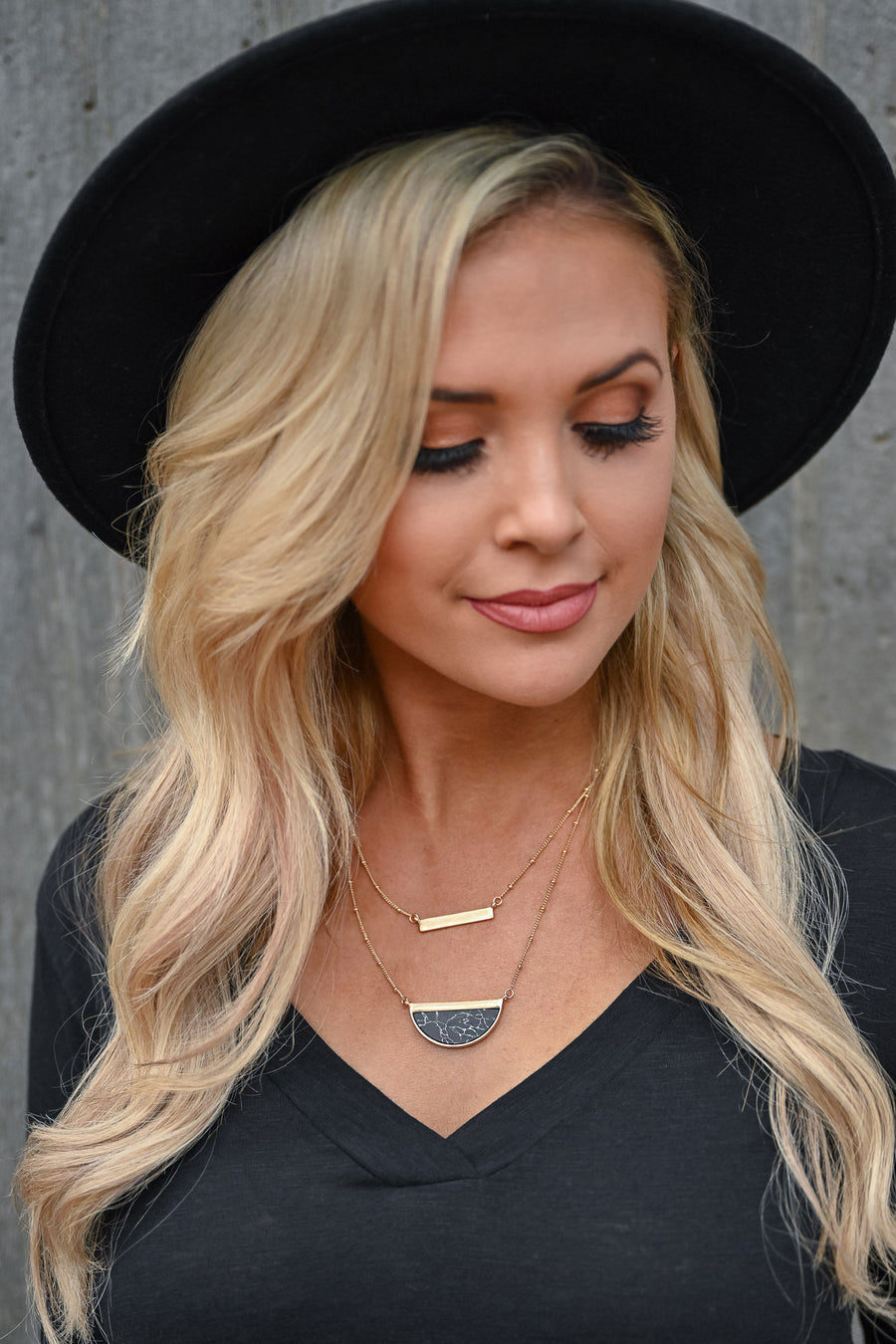 Keep Shining Layered Necklace - Black Marble womens trendy layered necklace gold closet candy front