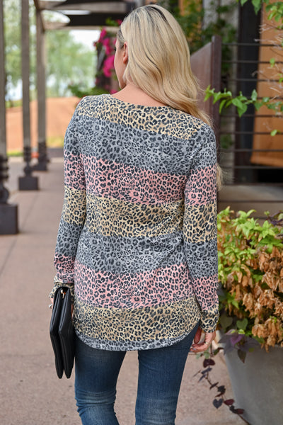 Set The Tone Top - Leopard Multi womens trendy long sleeve multi print leopard top closet candy back
