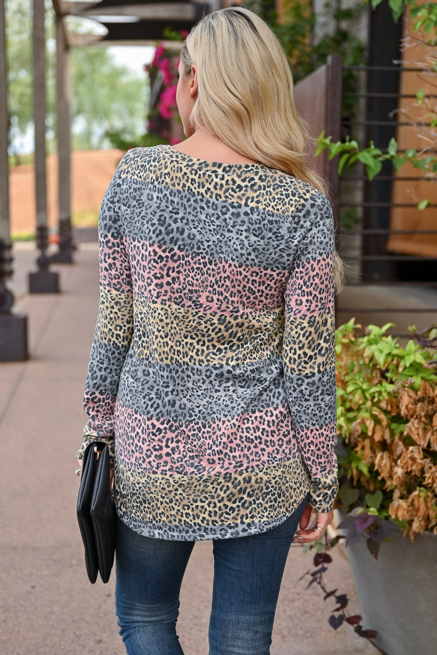 Set The Tone Top - Leopard Multi womens trendy long sleeve multi print leopard top closet candy front