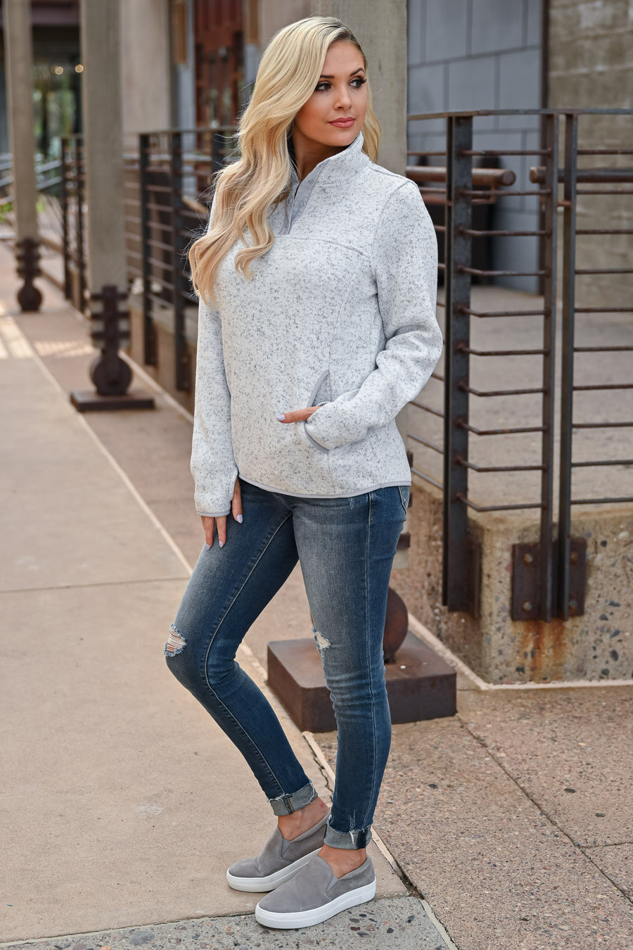 THREAD & SUPPLY Snowed In Pullover - Heather Ivory womens trendy long sleeve front pocket high neck pullover closet candy front