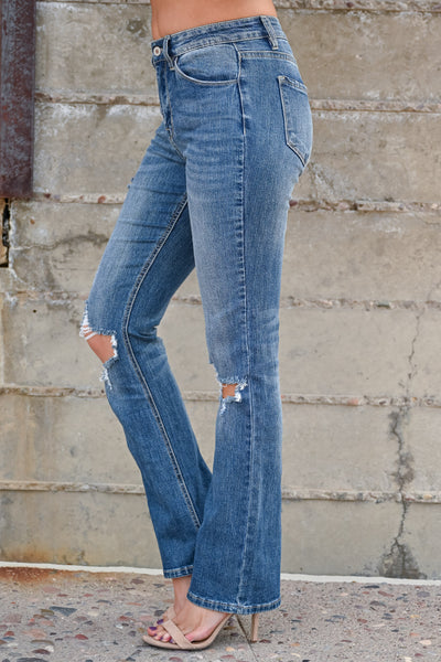 KAN CAN Arianna Distressed Bootcut Jeans - Medium Wash womens trendy busted knee boot cut jeans closet candy side