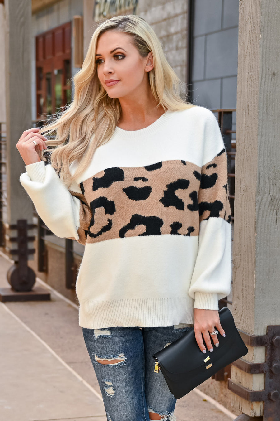 Legendary Leopard Sweater - Ivory womens trendy long sleeve leopard color block sweater closet candy front